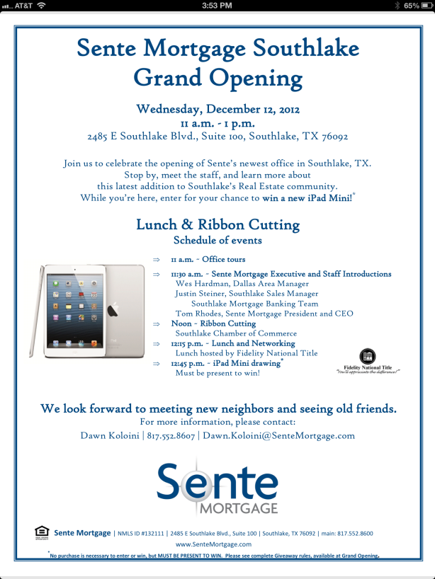Sente Mortgage Opens in Southlake