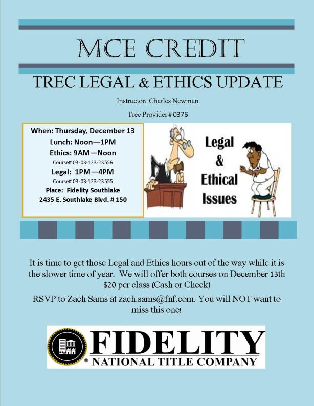 TREC Legal  & Ethics Update Required MCE Hours